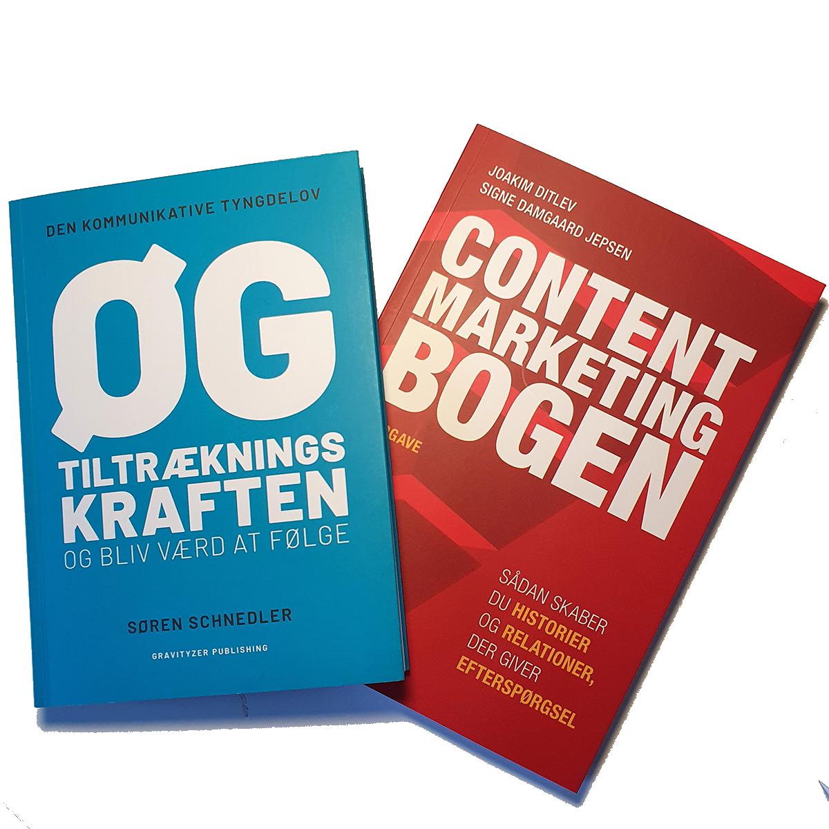 Bogpakke med Content Marketing Bogen og Øg Tiltrækningskraften